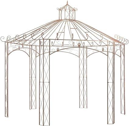 vidaXL Pérgola Carpa Cenador de Jardín Porche Patio Terraza de Aspecto Antiguo Estructuras Hierro Decoración Exterior Ambientes para Casa 4 m Marrón