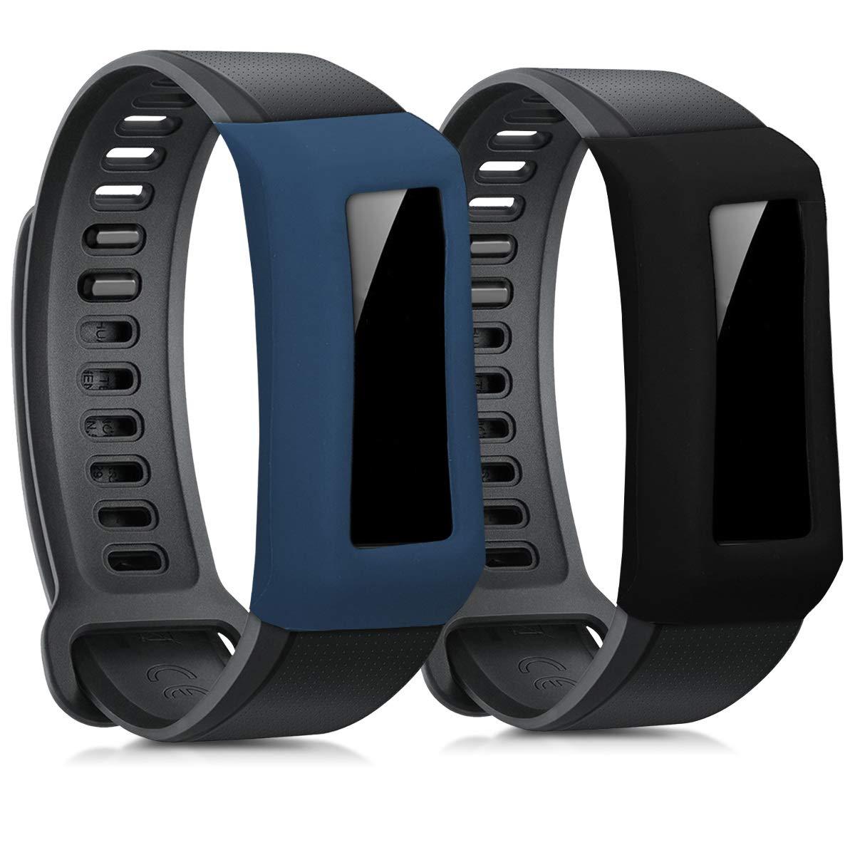 kwmobile 2 Fundas para Huawei Band 2 / Band 2 Pro - Cubierta para Monitor de Actividad de Silicona - Case Negro/Azul Oscuro