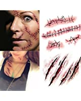 SHZONS Horror Realistic Waterproof Temporary Tattoo Sticker Fake Bloody Wound Stitch Scar Scab Halloween Masquerade Prank Makeup Props(10pcs)