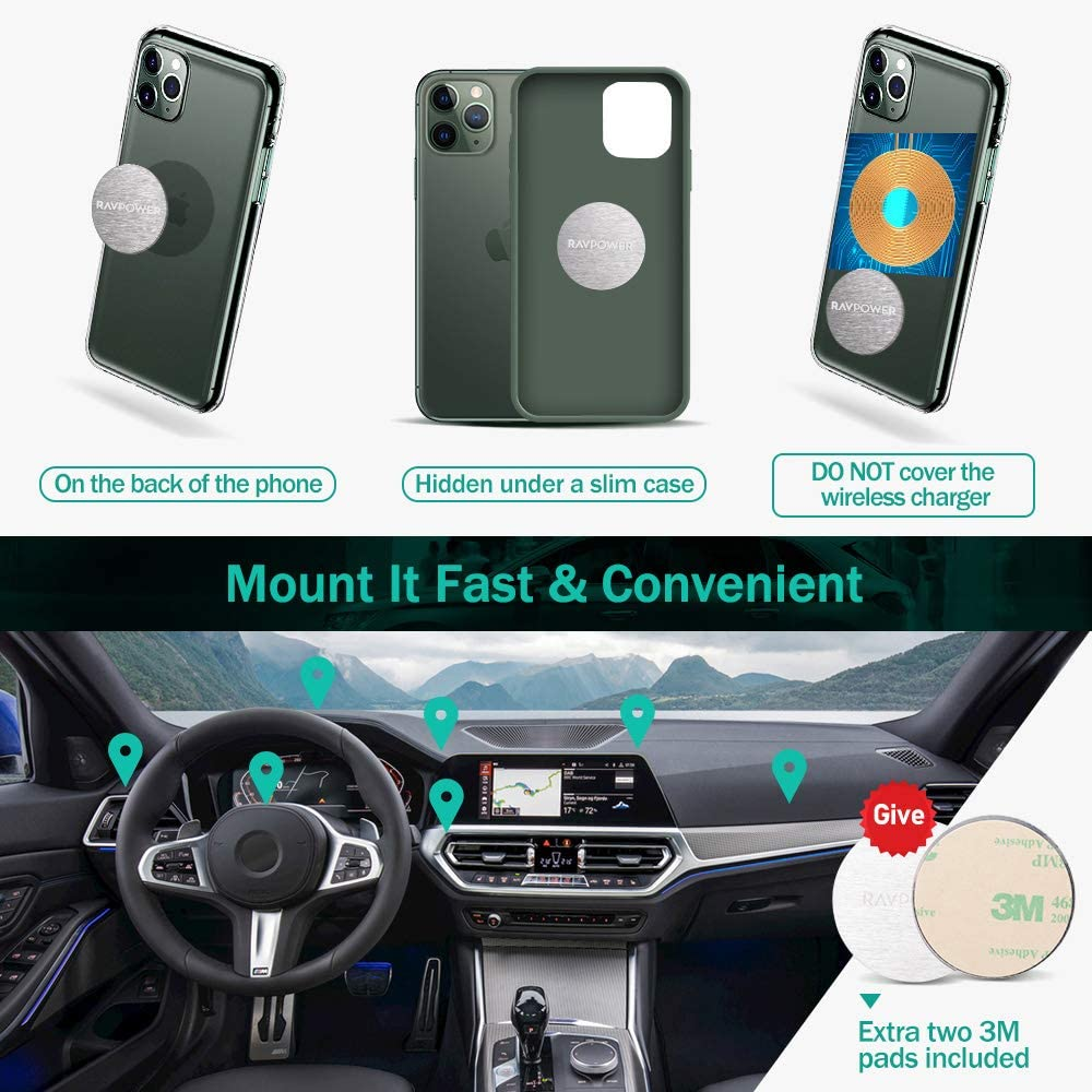 Compatible with iPhone 11 Pro XS Max XR X 8 7 Plus Galaxy S20 S9 Pixel 3 XL LG G8 Thinq RAVPower Magnetic Phone Car Mount S10 Note 10 Magnetic Phone Mount for Car Dashboard