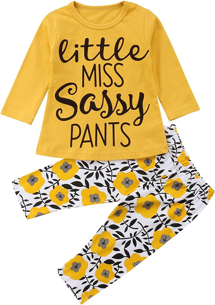 Pants 2Pcs Children Outfit Set Autumn Winter Child Tracksuit Zerototens Kids Clothing Set,0-3 Years Old Toddler Kids Clothes Boys Girls Long Sleeve Yellow Print Letter T-Shirt Tops