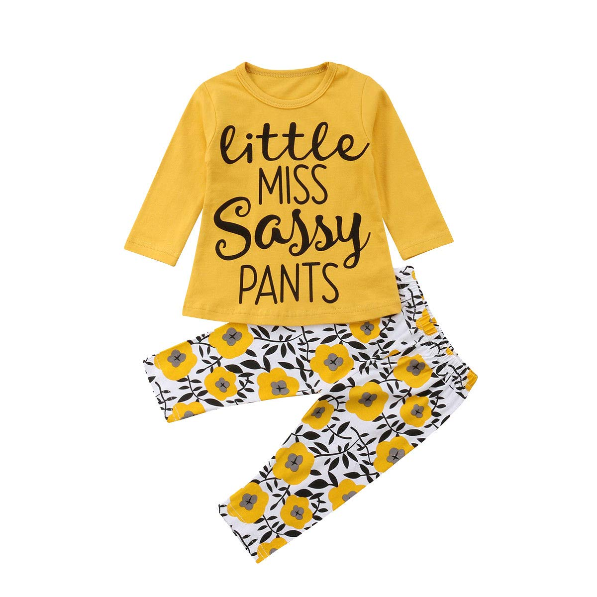 Ankola 2PCs Set Toddler Infant Baby Girls Letter Print''Little Miss Sassy Pants'' Long Sleeve Tops Floral Pants Outfit Set (12-18 Months, Yellow)