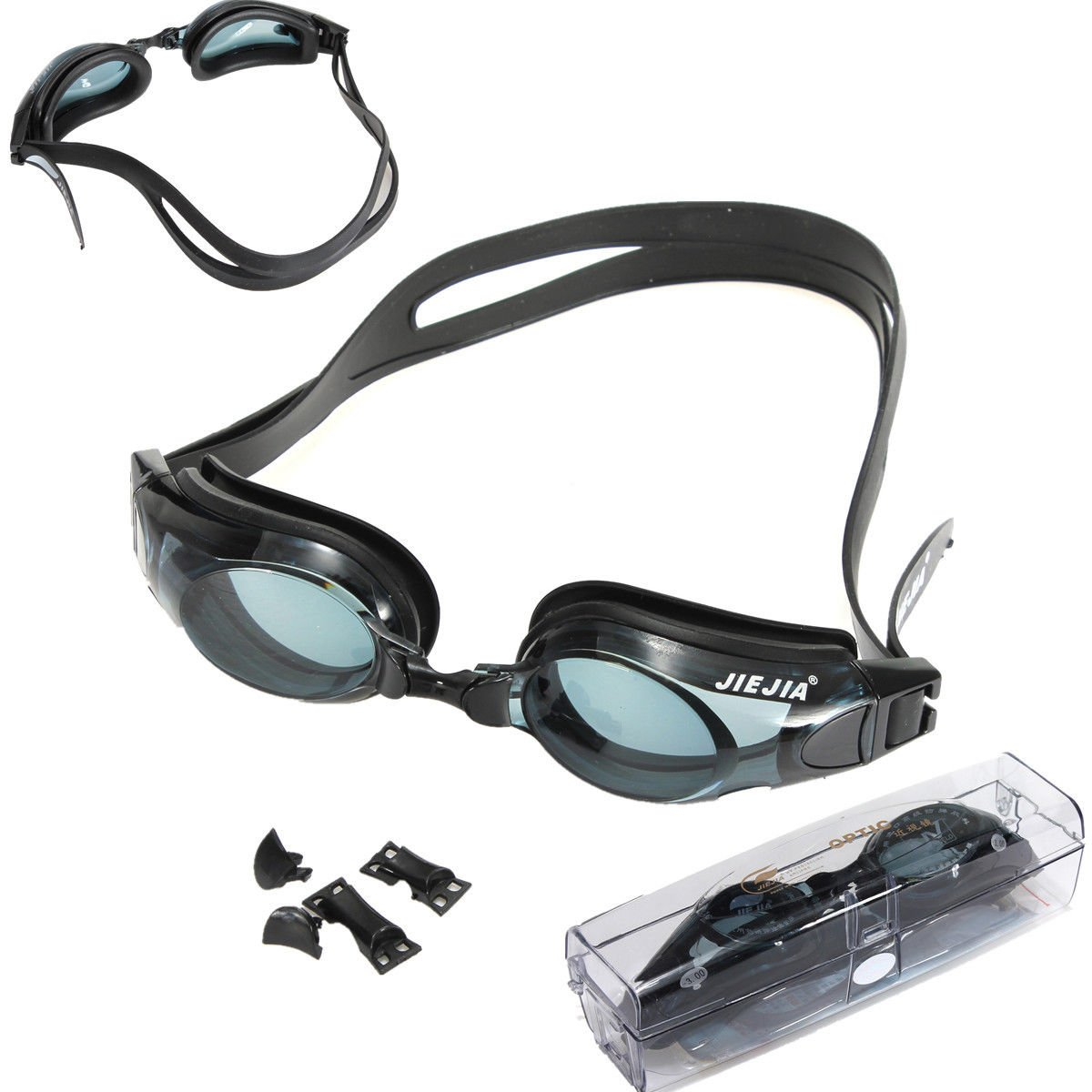 ブラック水泳用プロフェッショナル光学近視近視用ゴーグルメガネ-2.00 to - 6.00 B072N3995V