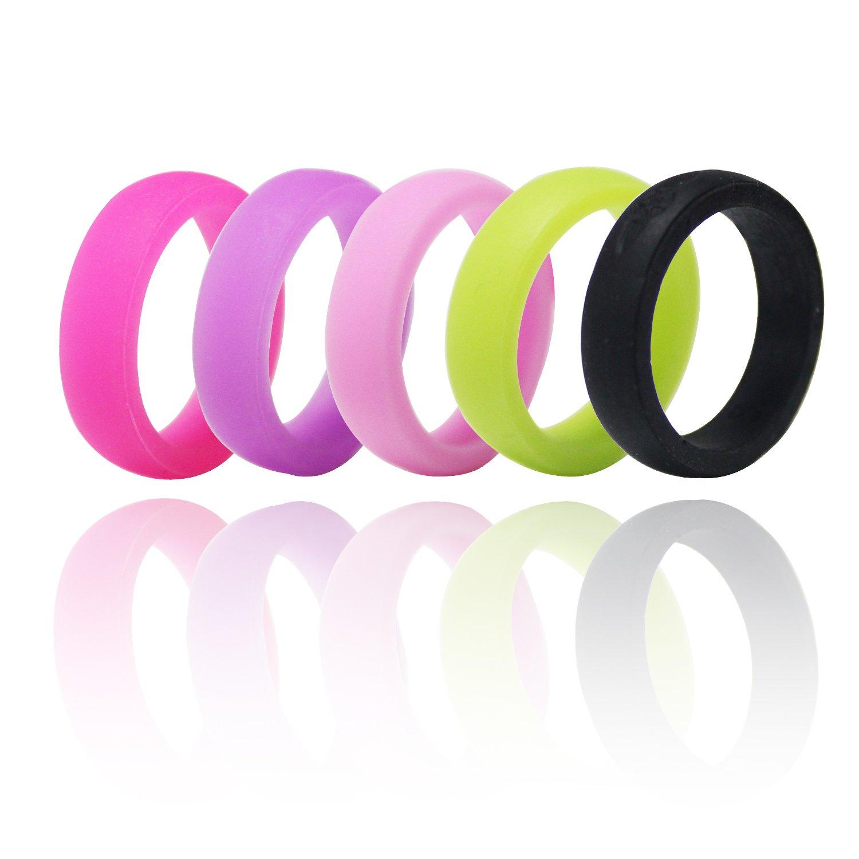 Amazon.com : Bluestar Silicone Wedding Ring for Women, 5 Ring Packs ...
