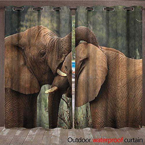 Safari Door/Gazebo Curtain Two Wild Savannah Elephants Wrestling Cute Nature Icons South African Animals PhotoW108 x L96 Brown Green ()