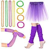 Beelittle Women's 80s Fancy Outfit Costume Accessories Set (13-Purple)