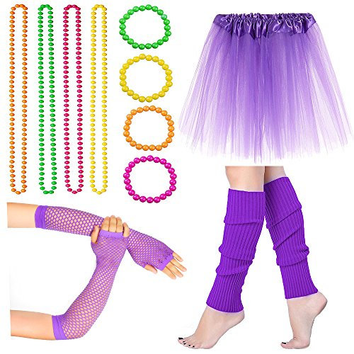 Beelittle Women's 80s Fancy Outfit Costume Accessories Set (13-Purple) by Beelittle