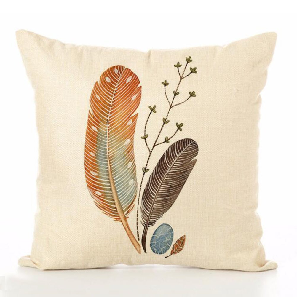 Cotton Linen Throw Pillow Case U-LOVE Feathers Print Square Cushion Cover 18 X 18 Inch Pillow ,4 pack by U-LOVE (Image #3)