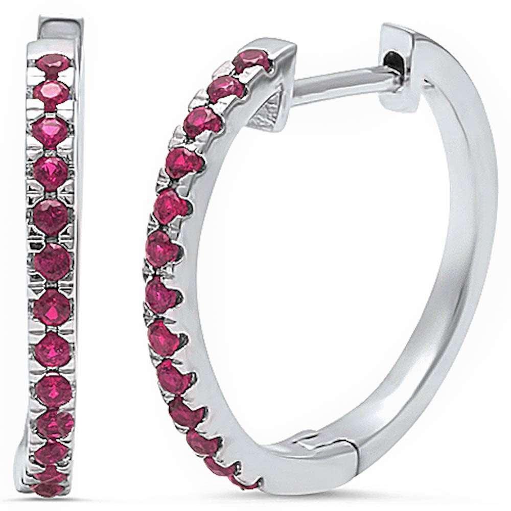 998b169513dac Simulated Ruby .925 Sterling Silver Hoop Earring