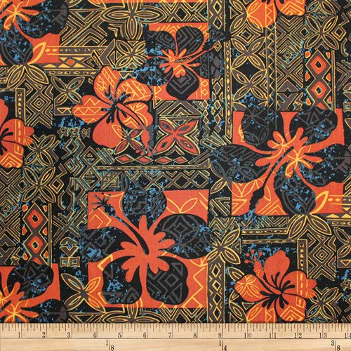 Trans-Pacific Textiles Hawaiian Tapa Hibiscus , Black Fabric by the ()