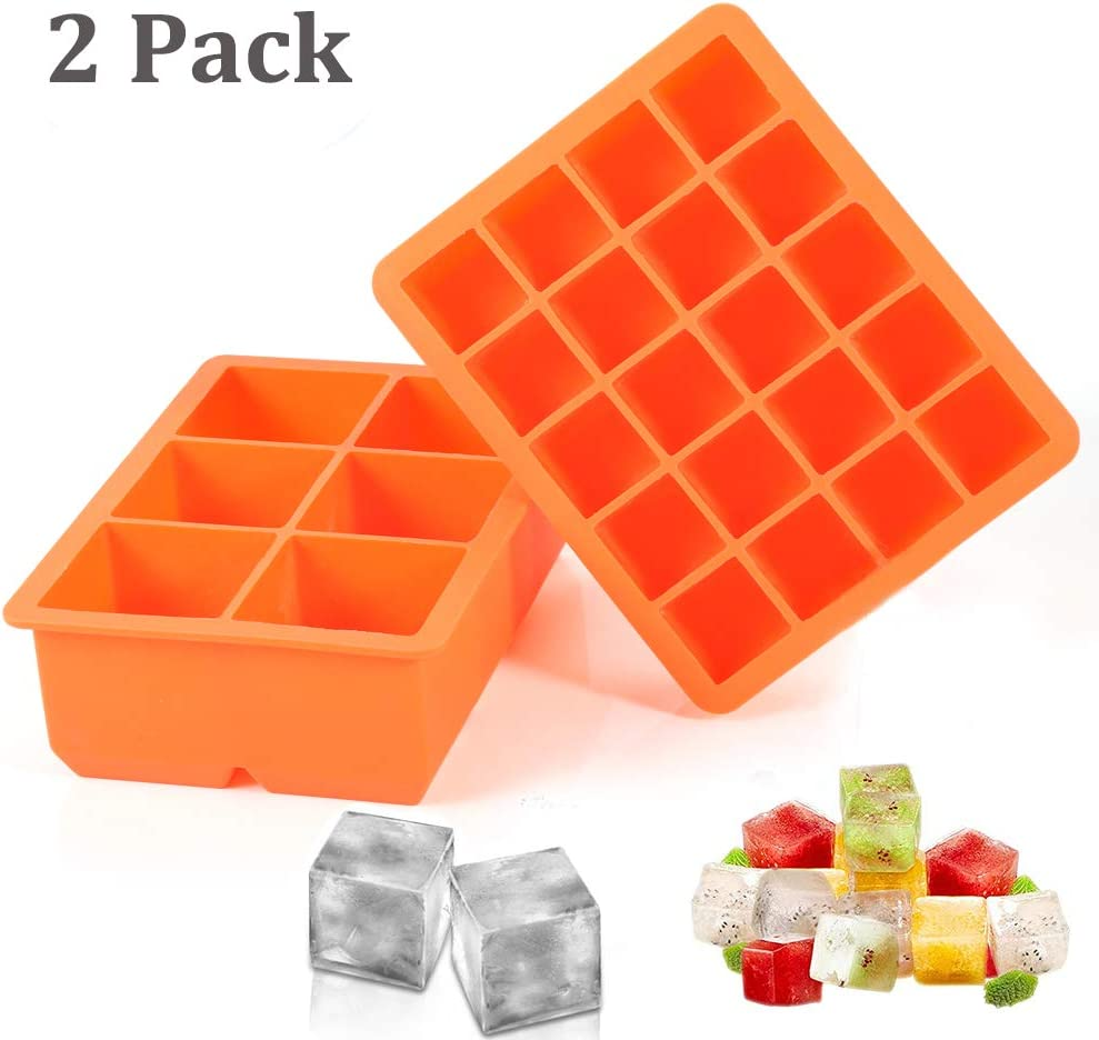 Ice Cube Tray, 2 Pack Silicone Ice Cube Molds 6+20 Large & Small Square Ice Cubes BPA Free Nontoxic Ice Cube