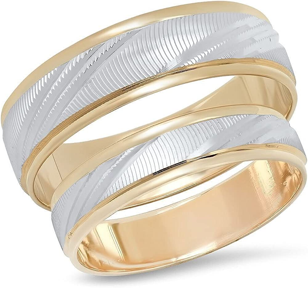 14K Solid White and Yellow Gold His & Hers Matching Wedding Band Ring Set Laser Cut (Choose a Size)