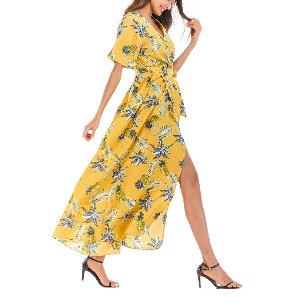 OIKAY Rock Boho Kleid Damen Sommer b/öhmischen Tunika Rock Floral Party Lange Maxi Kleid Strand Sommerkleid