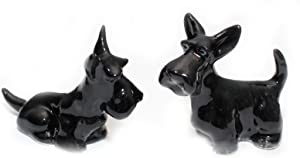Grandroomchic Dollhouse Animal Miniature Handmade Porcelain Statue Ceramic Decorative 1/24 Scale 2 Black Scottish Terrier Dog Figurine Collectibles Gift
