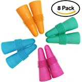 Set of 8 Wine Stoppers, ANIN Reusable Silicone Beverage Bottle Sealer Replacement with Grip Top for Cork to Keep the Wine Fresh - Orange, Pink, Green, Yellow