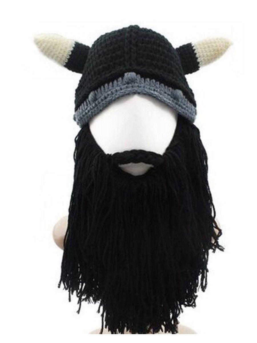 Mitario Femiego Men's Original Barbarian Knit Viking Beard Hat Beanie Cap Black