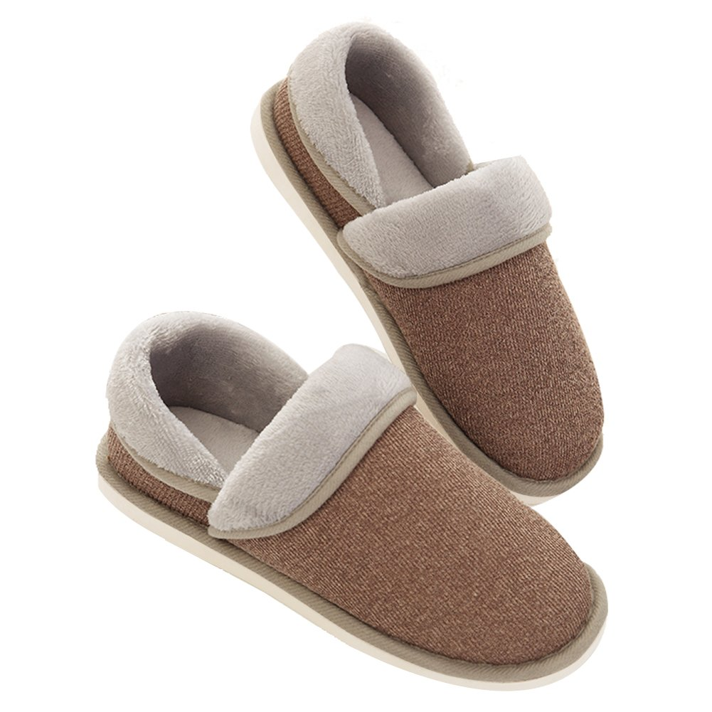 NineCiFun Womens Comfort House Slippers Indoor Outdoor Moccasin Slippers(40-41,Coffee)