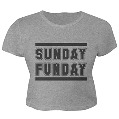 a8f41afd4 Amazon.com: Old Glory Sunday Funday Juniors Crop Top T-Shirt: Clothing