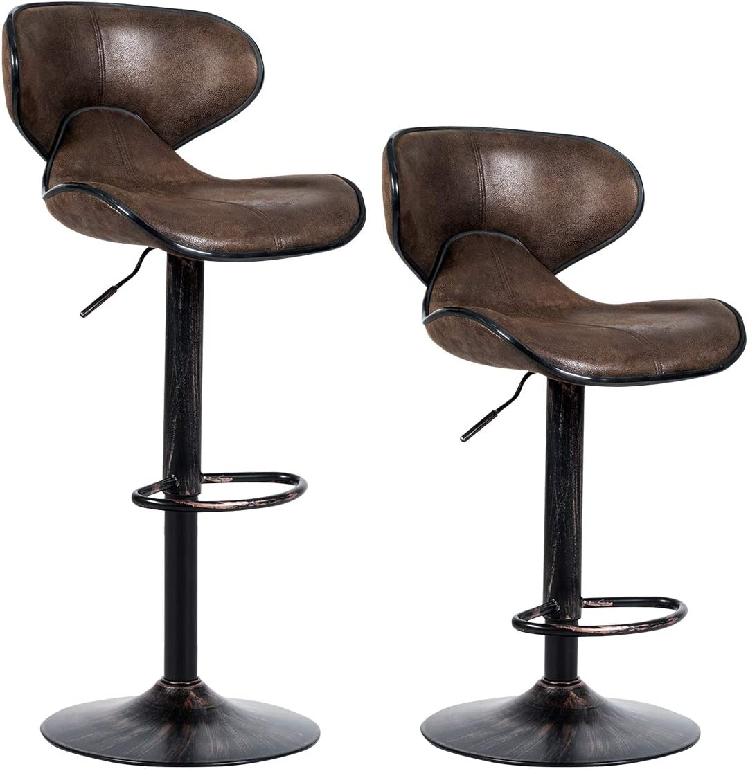 COSTWAY Bar Stools Set of 2, Swivel Adjustable Barstool, Counter Height Chairs w Backrest and Footrest for Bar, Kitchen, Dining Room, Living Room and Bistro Pub, Retro Brown