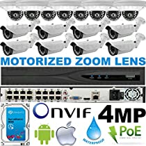 USG Business Grade H.265 4MP 2592x1520 16 Camera HD Security System : Ultra 4K 32 Channel Security NVR + 8x Dome 2.8mm & 8x Bullet Motorized 2.8-12mm Cameras + 1x 4TB HDD : Apple Android Phone App