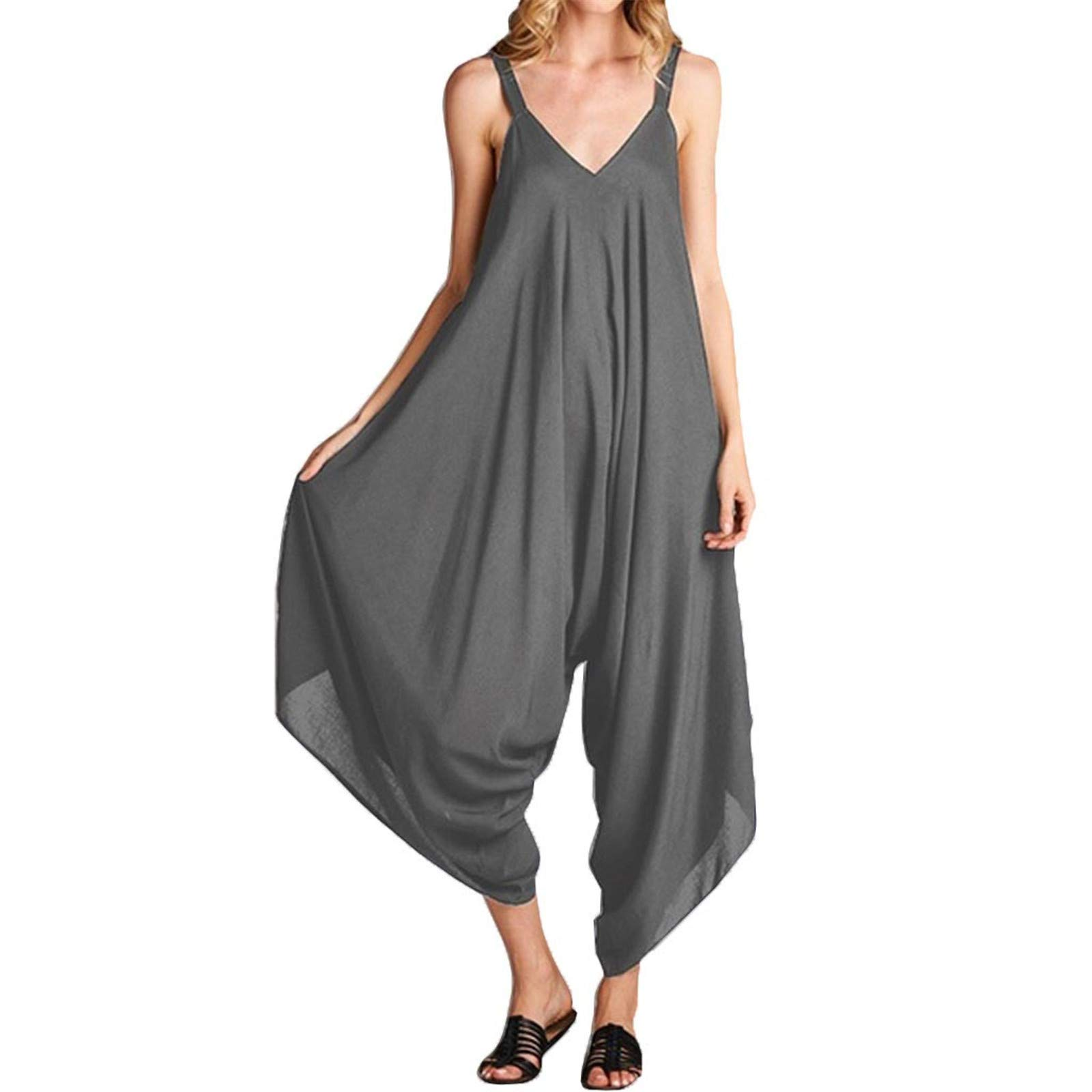 Thenxin Loose Romper for Women Sling V-Neck Wide Leg Jumpsuit Solid Color Comfy Outfit Playsuit (Gray,XL)