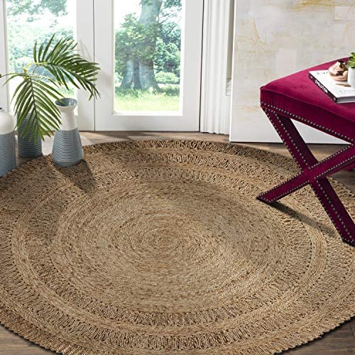 LR Resources Natural Jute LR12034-GRY40RD Gray Round X 4 ft Indoor Area Rug