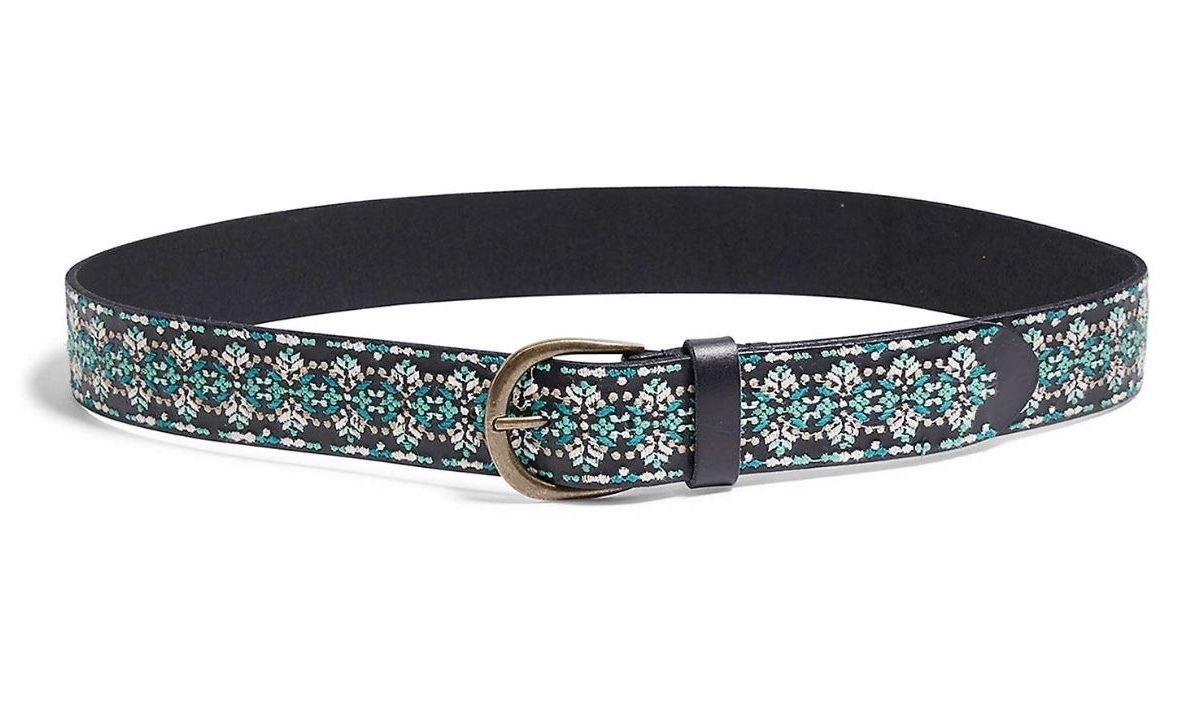 Lucky Brand - Women's - NWT - Turquoise Blue Mosaic Embroidered Black Leather Belt (Small)