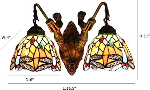 FUMAT Tiffany Sconce Wall Light Fixtures Dragonfly Stained Glass Wall Lamp Mermaid Bathroom Mirror Front Light Retro Corridor Light Stair Wall Lights E26 2 Head
