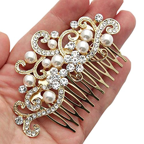 Missgrace Crystal Jewelry Comb Bridal Headpiece Hair Clip Headband (Gold)