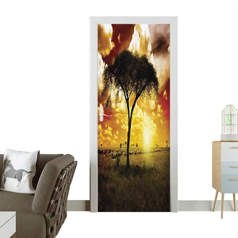 color03 W32 x H80 INCH Homesonne Waterproof Decoration Door Decalsthe Li King Biggest Cat in Africa Ic Animal in Tropics Artwork Perfect ornamentW32 x H80 INCH