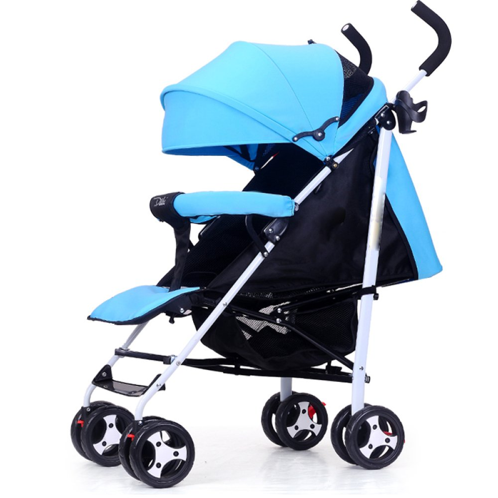 QXMEI Baby Stroller Can Sit Ultra Light Portable Shock Absorber Folding Four-Wheeled Baby Push Stroller,Blue