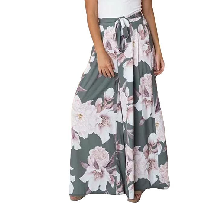 253a1141f6 Alixyz Women's Boho High Waist Wide Leg Pants Floral Print Summer Beach  Pants: Amazon.ca: Clothing & Accessories