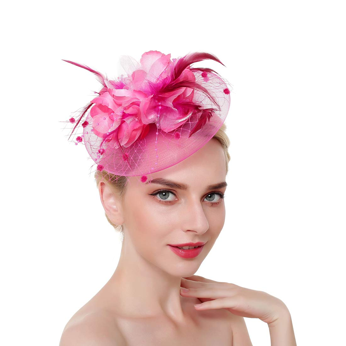dressfan Elegant Circular Mesh Net Flower Feather Fascinator Hair Clip Hat Banquet Wedding Barrettes