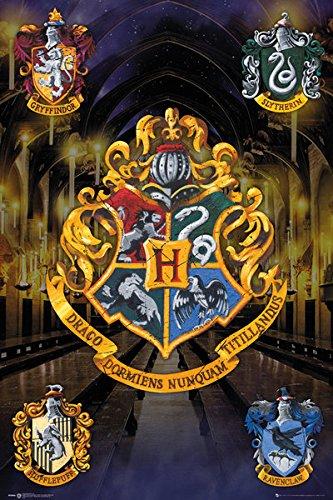Harry Potter - Movie Poster / Print (House Crests - Hogwarts, Gryffindor, Slytherin...) (Size: 24