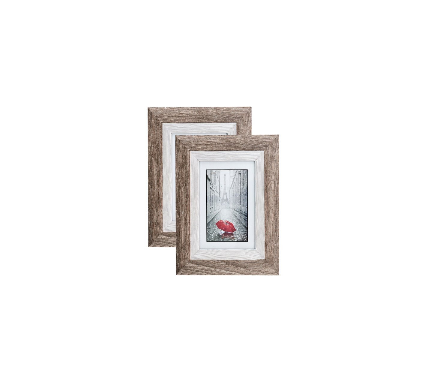 Distressed Brown MDF Wood Picture Frame 4X6 (2 pc) Display with Photo Glass Front, Easel Back, and Wall Hang Clip   2 PIECE SET