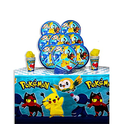 B-THERE Party Pack Bundle of Pokemon Party Supplies, Seats 8 - Napkins, Plates, Cups and Tablecloth - Standard Party Set Decorations -