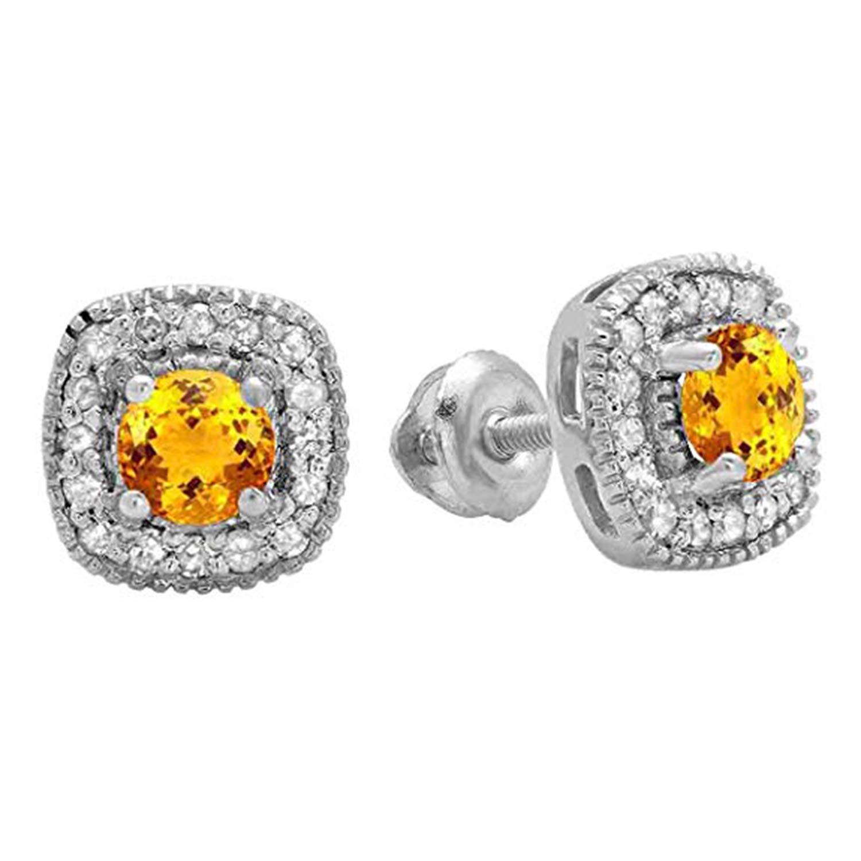 14K White Gold Plated Simulated Diamond Stud Screwback Earrings For Womens Girls Jewellery