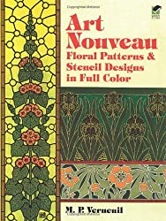Art Nouveau Floral Patterns and Stencil Designs in Full Color (Dover Pictorial Archive)