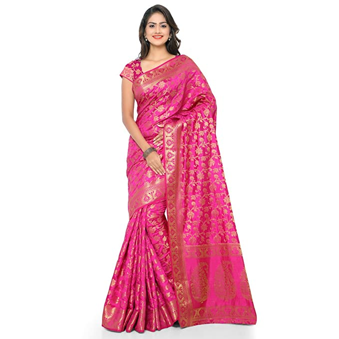 e9e0702256c46c Varkala Silk Sarees Women s Tussar Silk Kanchipuram Saree With Blouse  Piece(ND1021RN Pink Free Size)  Amazon.in  Clothing   Accessories