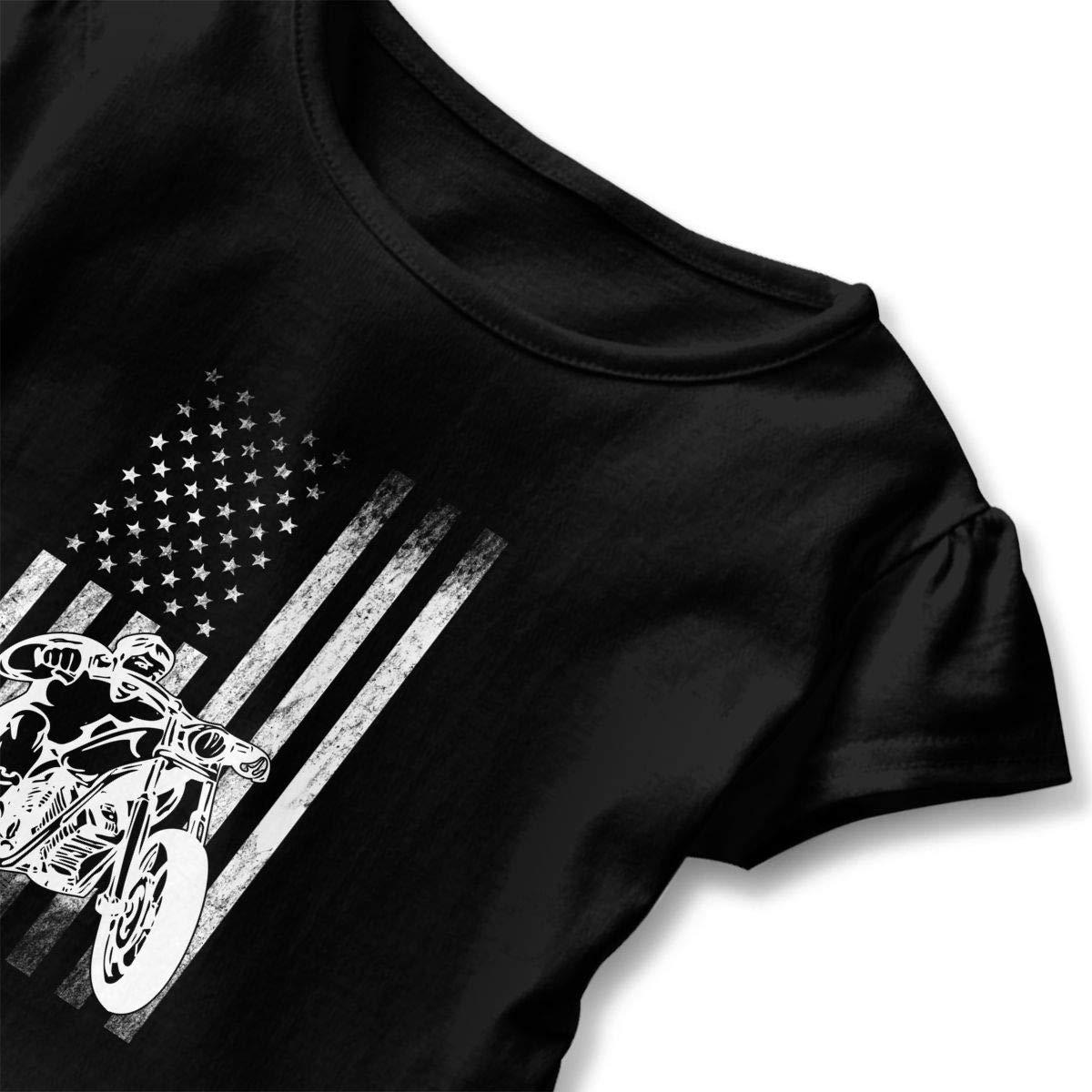 Clarissa Bertha American Motorcycle US Flag Fun Biker Toddler Baby Girls Short Sleeve Ruffle T-Shirt