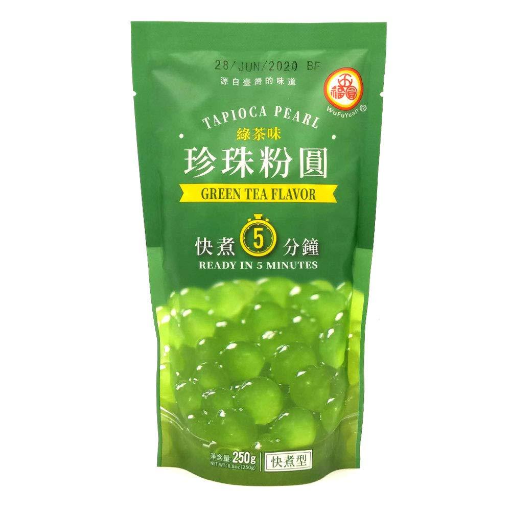 WuFuYuan - Green Tea Tapioca Pearl 8.8 Ounce Bag, [Pack of 1]