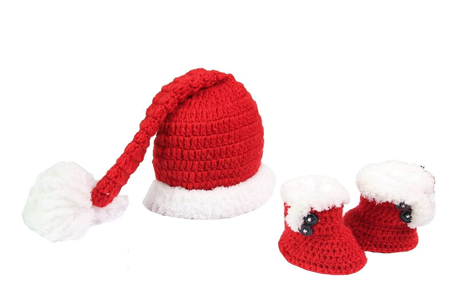 MSP Handmade Newborn Baby Photo Photography Props Crochet Crochet Knitted Prop Girl Boy Shoes Red-and-white Santa Claus Caps Hat Christmas Cap Set Clothes Outfits 0-12 Months MrSleeper 03W3525