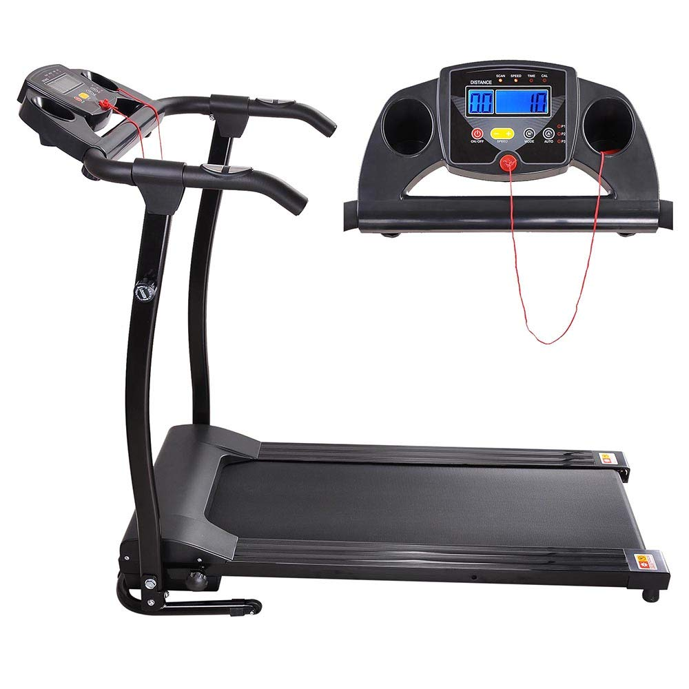 AW 1100W Folding Electric Treadmill Portable Power Motorized Machine Running Jogging Gym Exercise Fitness Black by AW (Image #2)