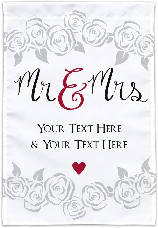 GRAPHICS & MORE Personalized Custom 2 Lines Mr and Mrs Wedding Garden Yard Flag (Pole Not Included)