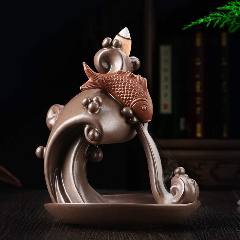 WOGQX Ceramic Carp Waterfall Incense Burner Zen Backflow Incense Rack, Reflux Incense Burner Smog Incense Burner Home Decoration Gift Decoration Statue Jewelry by WOGQX