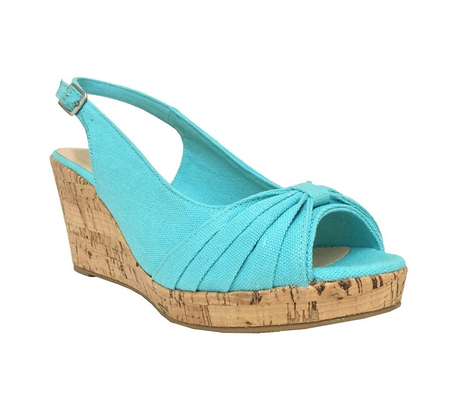 City Classified Women's Ralph Peep Toe Platform Cork Wedge Sling-Back Sandal in Blue Cotton B00BI37FQA 6 B(M) US