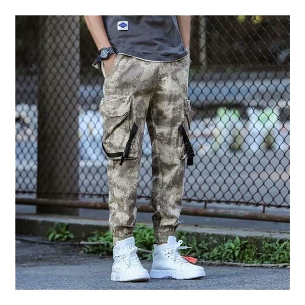 YiCong Los Pantalones de Camuflaje Streetwear Carretera Joggers for Hip Hop Hombres Algod/ón Estilo cord/ón Flojo Pantalones Multi Bolsillos de Cuerpo Entero Casual al Aire Libre