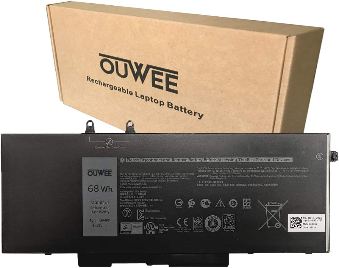 OUWEE 3HWPP Laptop Battery Compatible with Dell Latitude 5401 5410 5411 5501 5510 5511 Precision 3541 3551 Series Notebook 03HWPP 10X1J N2NLL 1VY7F 01VY7F 15.2V 68Wh 4250mAh 4-Cells