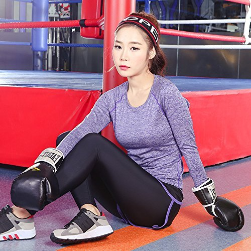 shirtamp; Set Nbe Women's T Blouse De Costume 2pcs Respirant Sports Leggings Tenues Sport Purple c5L4A3Rjq