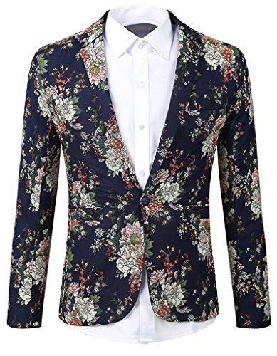 [JASSYOY Mens Lightweight Floral One-Button Suit Blazer Blue] (Linen Single Breasted Sport Coat)